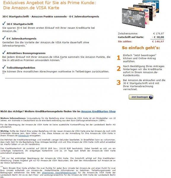 Amazon Kreditkarte: 30€ Prämie + dauerhaft kostenlos (statt 20€ pro Jahr)