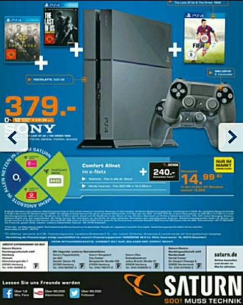 [ Saturn HH ] Playstation 4 mit 500GB zwei Controllern und drei Spielen