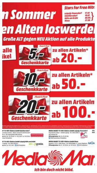 [Lokal Leipzig und Riesa] Media Markt - 5 Euro Gutschein ab 20, 10 Euro ab 50 und 20 Euro ab 100 Euro Einkaufswert