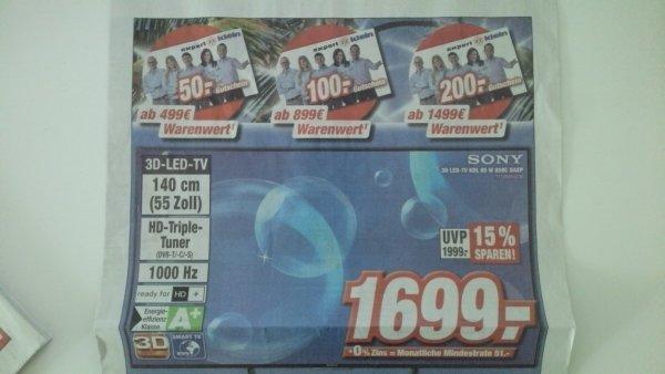 [lokal Expert Darmstadt] Sony KDL 65W859C für 1699€ + 200€ Gutscheinkarte