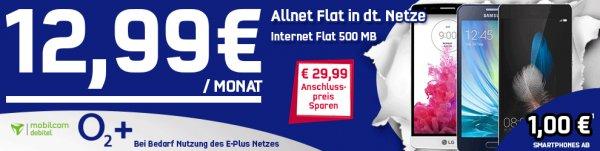 Allnet Flat Handyvertrag für 12,99 € im Monat inkl. Handy