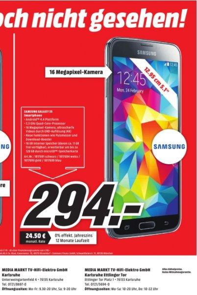 [Lokal Mediamarkt Karlsruhe] Samsung Galaxy S5 16GB G900F Alle Farben für 294,-€