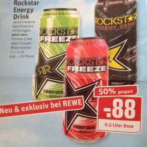[REWE Ruhrgebiet] Ab 23.7. Rockstar Energy Drink für 0,88 Euro