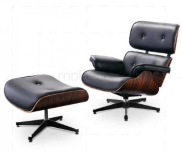 Eames Lounge Chair und Ottomane Replik - Schwarz mit Rosenholz für 645€ statt 969€