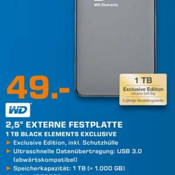 [Lokal Saturn Karlsruhe] WD Elements 1TB USB3.0 2,5 Zoll 49€