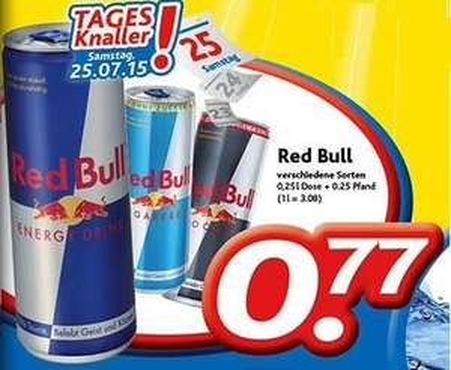 [Dursty] Red Bull 0,25l Dose für 77 Cent am Samstag, 25.07.