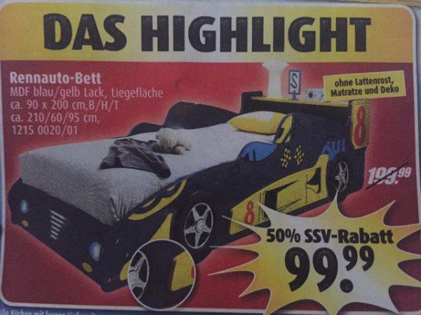 Wochen Highlight Rennauto Bett 50% reduziert 99,99€ bei Roller
