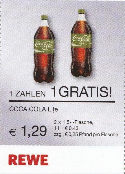 Coca Cola Life für 43ct/L bzw. 2x1,5L für 1,29€ bei REWE