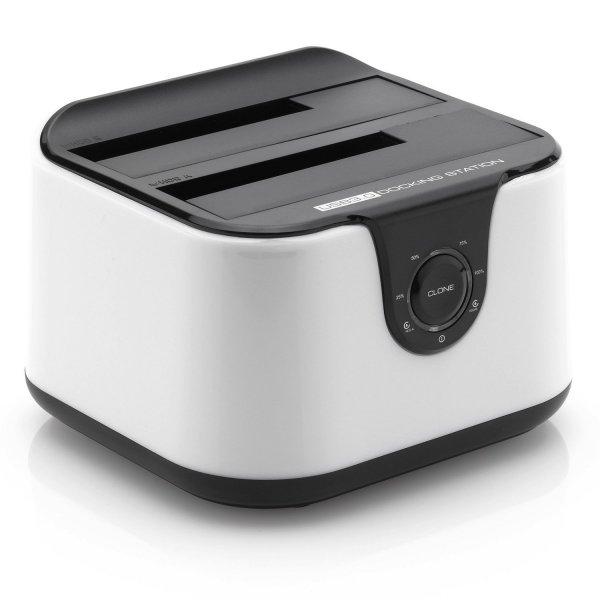 """DeleyCON DUAL USB 3.0 Dockingstation für alle 2,5"""" und 3,5"""" SATA Festplatten in schwarz und weiß reduziert von 36,99€ auf 29,59 bei Amazon"""