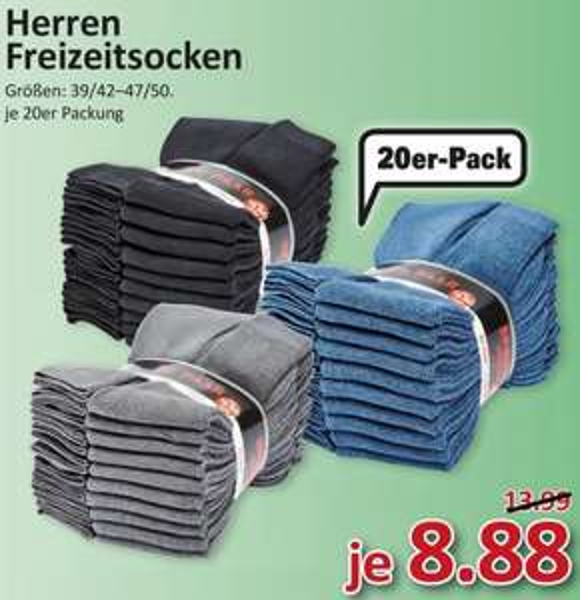 [MARKTKAUF SÜD] Herren Freizeitsocken 20er-Pack für 8,88€