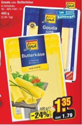 [SamstagsKracher] 400g Gouda oder Butterkäse für 1,35 beim Netto ohne Hund