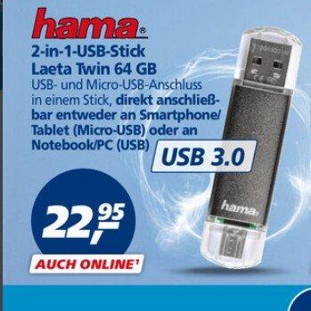2-in-1-USB-Stick 64GB von hama (USB 3.0!)