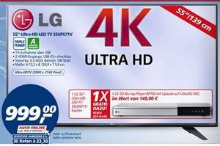 LG 55UF671V Ultra HD TV inkl. UHD Bluray Player BP740