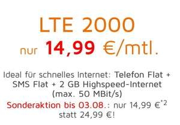 2GB LTE Allnet monatlich kündbar, 15€ monatlich, O2-Netz