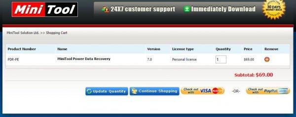 MiniTool Power Data Recovery 7.0 Vollversion (Personal Edition) statt 69 $ für 0,--