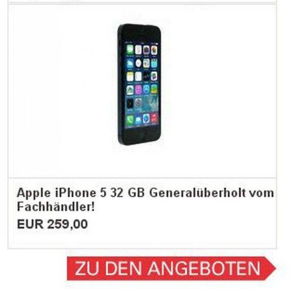 ebay-WOW // Apple iPhone 5 32 GB Schwarz - Generalüberholt von asgoodasnew für 259€