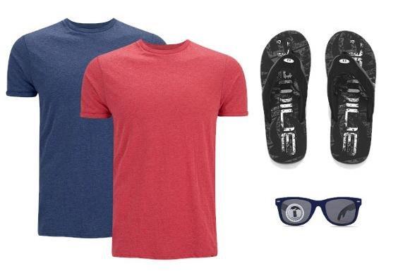 Bieröffner Sonnenbrille im Set mit 2 T-Shirts und Flip Flops für €21 VSK frei @the hut