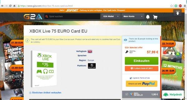 Xbox Live Guthaben 75 Euro für 57,99 €