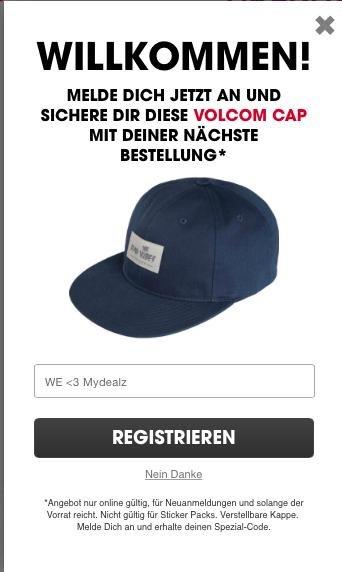 Volcom: 1 Cap gratis bei der nächste Bestellung, kein MBW, VSK: 3,95€