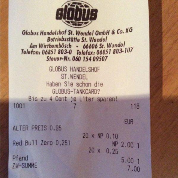 (Globus St. wendel) Red Bull Zero für 10 Cent!!