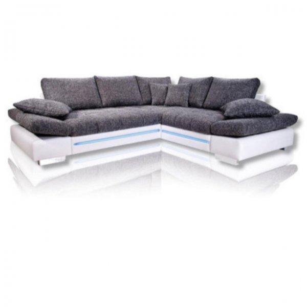 Ecksofa DREAMLINER - weiß-silber-schwarz - LED bei Roller  30% sparen