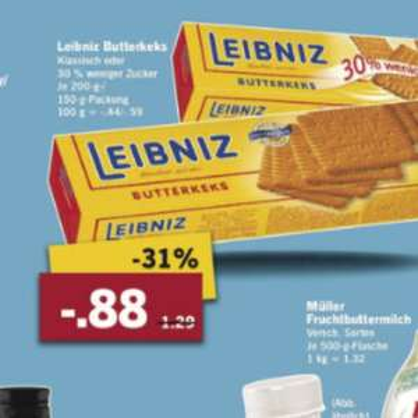 Leipniz butterkeks 0,88 Lidl  31% Rabatt