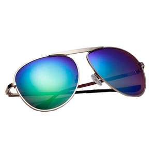 Sonnenbrille Verspiegelt Nerdbrille Sunglasses Erwachsene Brille Oval Linse Golden Bügel Pilotenbrille Policebrille mit Verschiedene Farben