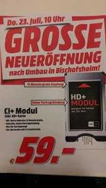 [lokal Media Markt  Bischofsheim]  HD+Modul inkl. 12Monatskarte