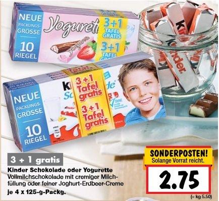 [KAUFLAND] KW31 Kinderriegel oder Yogurette 3+1 für 2,75 € (Angebot) [27.07.2015 - 01.08.2015] (außer BY und BW)