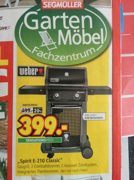 [Segmüller + Hornbach TPG] Weber Spirit E-210 Classic für 359,10€