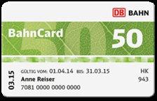 My BahnCard 50 1Jahr für 69€ statt 127€/ Probe Bahncard 25 ab19€/ Probe Bahncard 50 ab 79€/ Probe Bahncard 100 ab 1249€ / Bahncard50 mit 25% Rabatt auch auf Sparpreise