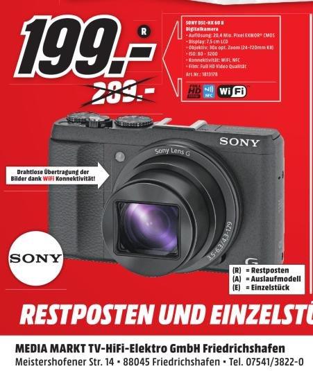[Lokal MediaMarkt Friedrichshafen] Sony DSC-HX60 Digitalkamera /WiFi / NFC / 30x opt. Zoom / FHD Videos / für 199€