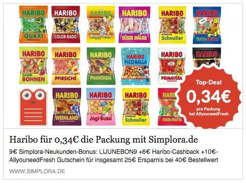 Allyouneedfresh - 30,26 € für 12,2kg (!) Haribo, 15,26€ mit Simplora