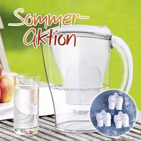 Günstig durch Sommeraktion - BWT Tischwasserfilter 2,5 Liter (weiß) inkl. 3er-Set Ersatzkartuschen Gourmet MG2+