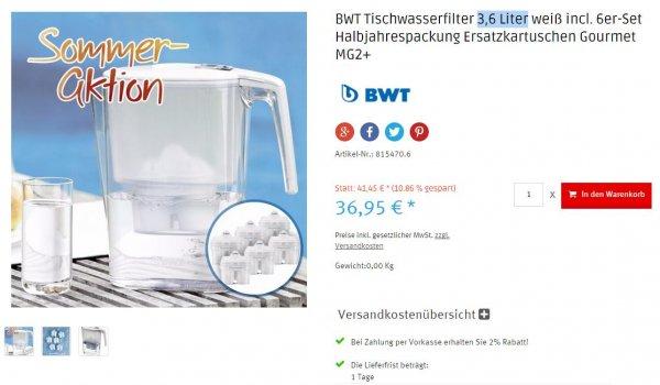 BWT Tischwasserfilter 3,6 Liter weiß incl. 6er-Set Halbjahrespackung Ersatzkartuschen Gourmet MG2+