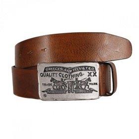 Levi's® Fort -  Ledergürtel für Damen & Herren mit Nostalgie-Buckle in medium brown / italienisches Vollrindsleder / Größen 70, 75, 80 / @Zalando