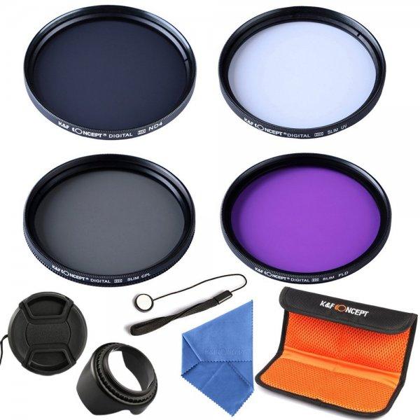 52mm 9 teiliges Slim Objektiv Kamera Zubehör Set UV CPL FLD ND4 Objektivkappe Tuch Objektivkappenhalter und Tasche nur 18,99 EUR