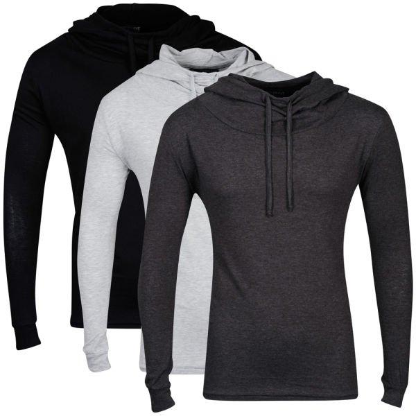 Tweet Bravesoul Men's 3-Pack Hooded Tops - Black/Grey Marl/Charcoal @ The Hut Nur 13,89 €