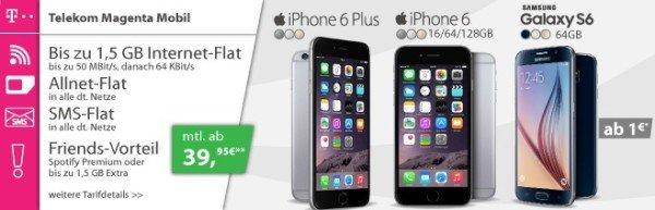 39,95€ für iPhone 6 / Galaxy S6 (Edge) mit Telekom Allnet-Flat + SMS-Flat + LTE Surf-Flat (bis 1GB,oder bis 3GB für 49,95€)