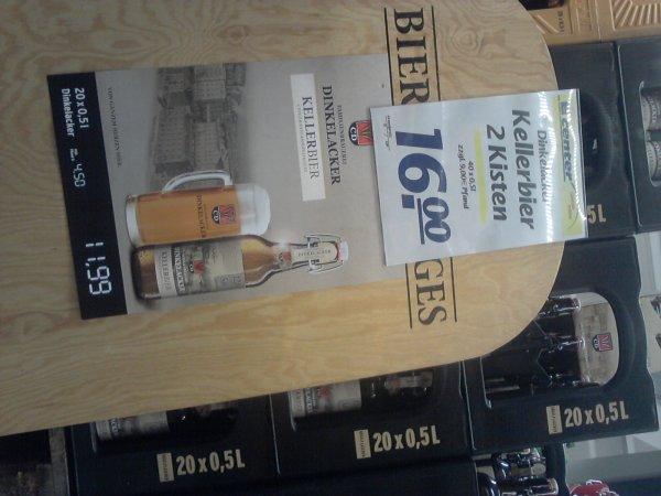 Dinkelacker Kellerbier 2 Kisten 0,5L Bügelflaschen für 16 € TÜ E-Center