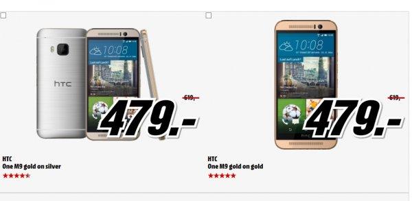 """[Mediamarkt] HTC One M9 Gold on Silver oder Gold on Gold EU [5"""" FullHD-Display, 64Bit OctaCore-CPU, 3GB RAM, 20MP Kamera, 32GB Speicher, LTE] für 479,-€ Versandkostenfrei"""