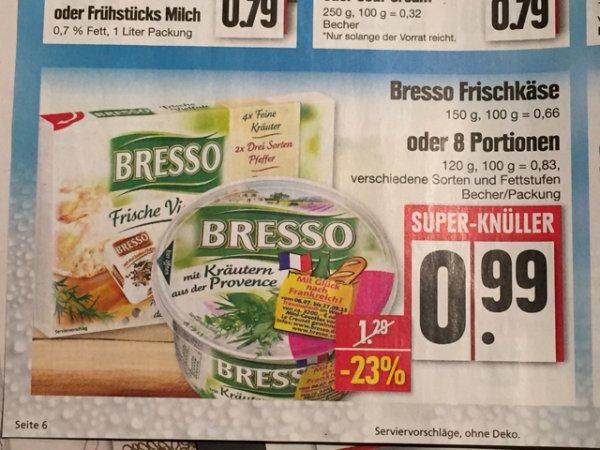 [Edeka Nordbayern] Bresso verschiedene Sorten 2x für 0,48€ mit Coupon