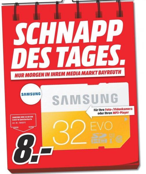 [Lokal Mediamarkt Bayreuth] Nur am 27.07...SAMSUNG 32 GB SDHC Speicherkarte Class 10 EVO MB-SP32 für 8,-€