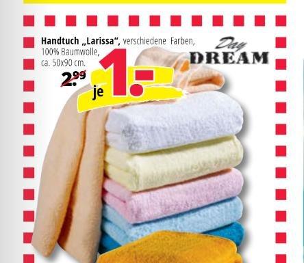 """(Hammer Bundesweit!) Handtücher """"Larissa"""" 50x90 cm für nur 1€"""