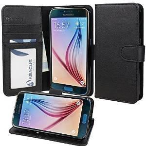 Samsung Galaxy S6 Kunstleder Flip Case mit Standfunktion, Schwarz