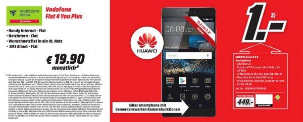 MediaMarkt Essen: mobilcom debitel Vodafone Flat 4 You Plus: D2-Flat | Wunsch-Flat | SMS-Flat | 500 MB bei 7,2 Mbit/s für 19,99 €/Monat + Huawei P8 für 1 € Zuzahlung => eff. 3,07 € / Monat
