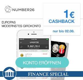 Number26 Prepaid MasterCard – Ausstellungsgebühr: 0€ Grundgebühr: 0€, Fremdwährungseinsatz: 0% + 1€ Cashback