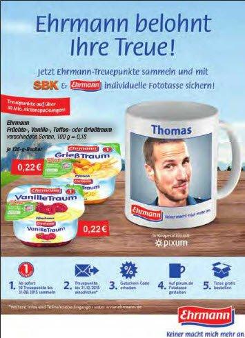 Ehrmann Treueaktion - Fototasse für 10 Treuepunkte und Versandkosten
