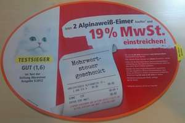 Alpinaweiß erstattet Ihnen die Mehrwertsteuer beim Kauf von mindestens zwei Alpinaweiß Aktionseimern