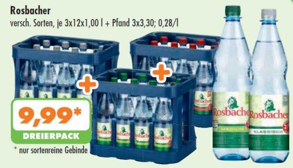 [Lokal NRW] 3 Kästen Rosbacher Mineralwasser für 9,99€ bei [trink&spare] - satte 50% Rabatt